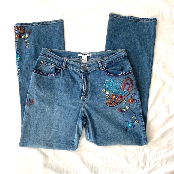 Acorn Denim - Acorn Embroidered Jeans Size 10 Flare Style